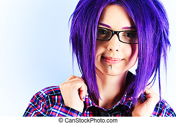modern student - Portrait of a punk girl with purple hair.