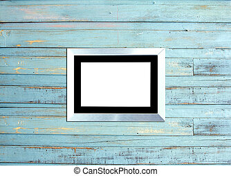 SilveVintage picture frame on blue wood background - Silver...