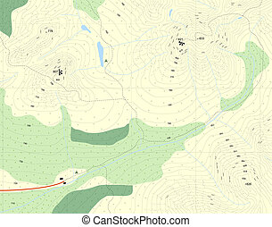 Contour map - Illustration of a generic map of mountains