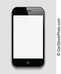 Mobile phone on a grey background.