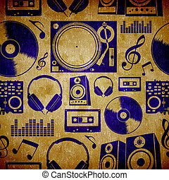 Dj music elementes vintage pattern - Dj music icon set...
