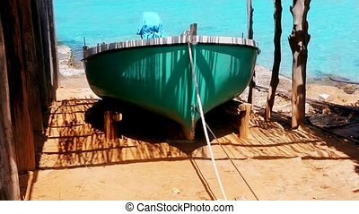 Balearic islands fisher boat wooden sunroof house with...