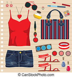 Fashion set with jeans skirt - Vector illustration. It is...