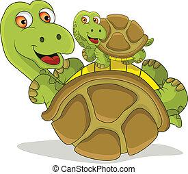 funny cartoon turtle - vector illustration of funny cartoon...