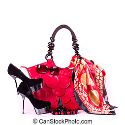 Fashionable accessories on white background.