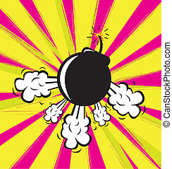 Bomb explosion in yellow and purple background