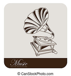 Gramophone - Old gramophone musical. Vector illustration