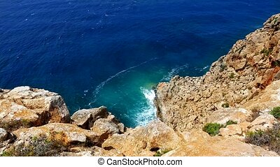 beautiful rocky beach in balearic islands ibiza