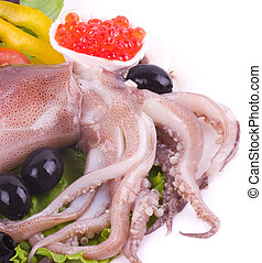 Raw squid with vegetables