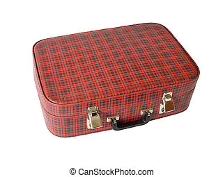 old red valise in hutch on white background