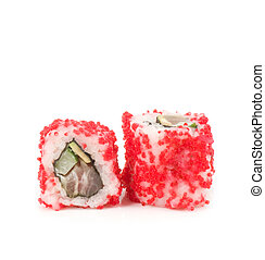 Traditional Japanese food Sushi on white background