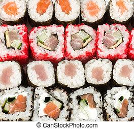 Traditional Japanese food Sushi background
