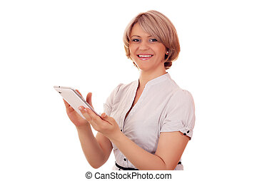 happy woman with tablet