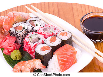Traditional Japanese food Sushi. Sushi collection