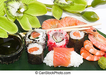 Traditional Japanese food Sushi. Sushi collection with...