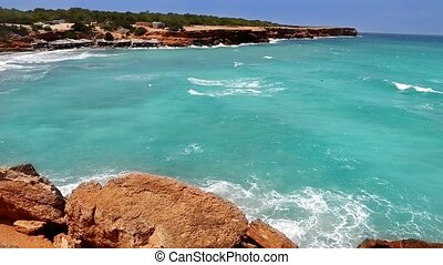Cala Saona in Formentera Balearic island near Ibiza with...