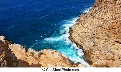beautiful rocky beach in ibiza