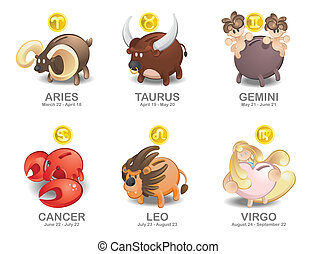 Aries, Taurus, Gemini, Cancer, Leo, - Illustration of Piggy...