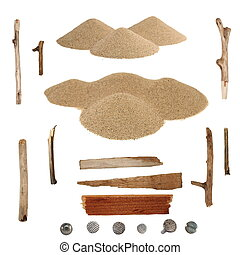 Set pile desert sand, branches and screw heads isolated on...