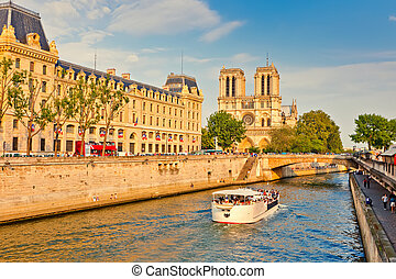 Seine river and Notre Dame cathedral, Paris