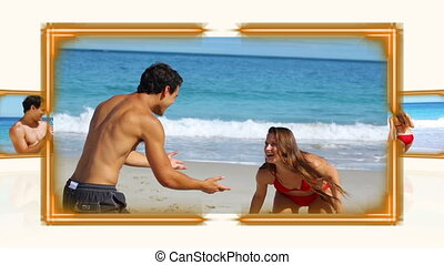 Videos of couple on the sand - Animation of videos of couple...