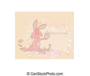 happy Easter bunny carrying egg - Illustration of happy...