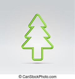 Christmas fur tree minimalistic symbol - Green wire metallic...