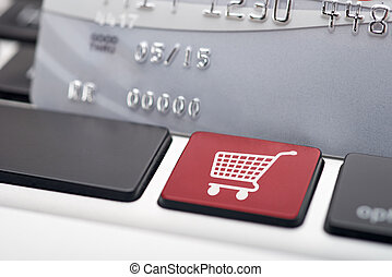 Online Shopping icon button of a computer keyboard