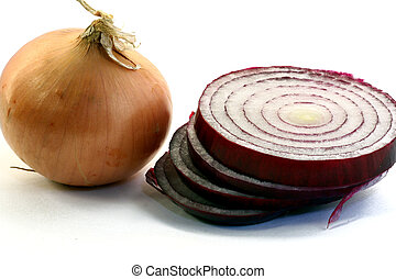 Red and Yellow Onion isolated in white background
