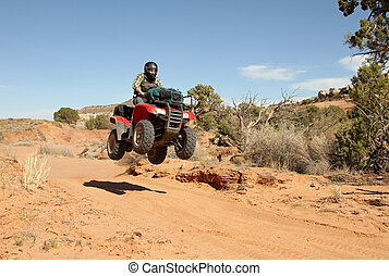 Teenage boy driving All Terrain Vehicle (ATV). - Teenage joy...