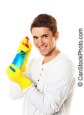 man with detergent
