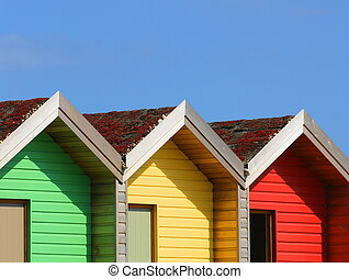 Row Of Beach Huts - A row of multi colored beach huts...