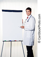 successful doctor with a flip chart during a presentation in...