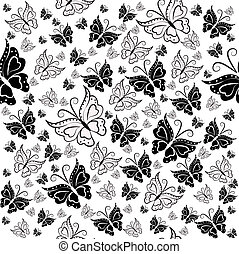 The sample from butterflies - Wall-paper from black and...