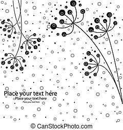 It is black white flowers on a white background with circles...