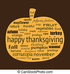 Happy Thanksgiving word collage in shape of pumpkin