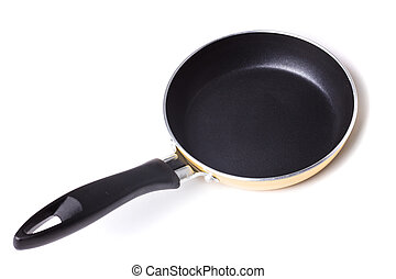 Teflon pan - Black pan with teflon coating isolated on white