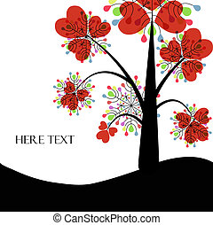 Abstract vector tree with colored leaves