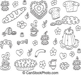 Doodle food set - The collection of different doodle drawn...