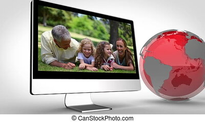 Video of happy family with Earth im - Aniamtion of happy...