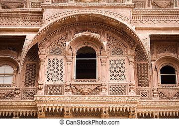 Carved sandstone window - A carved sandstone window frame at...