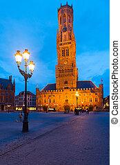 Bruges Brugge Square Belfry Dusk Evening