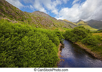 Five Sisters of Kintail from Shiel Bridge, Glen Shiel,...