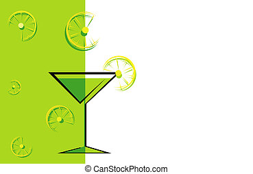 drink green card - Cocktail green card with lemons.