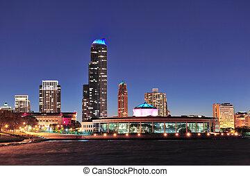 Chicago skyline at dusk