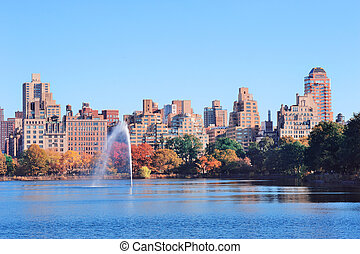 New York City Manhattan Central Park - Fountain over lake in...