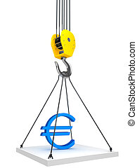 Industrial hook hanging on a chain