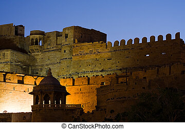 Jaisalmer fort - Night view of Jaisalmer fortress -...