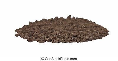 macro pile dirt isolated on white