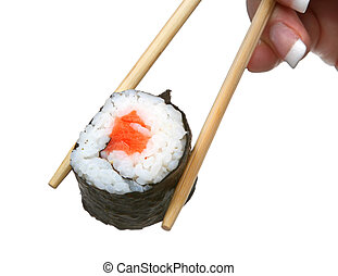 female hand holding sushi against pure whit ebackground